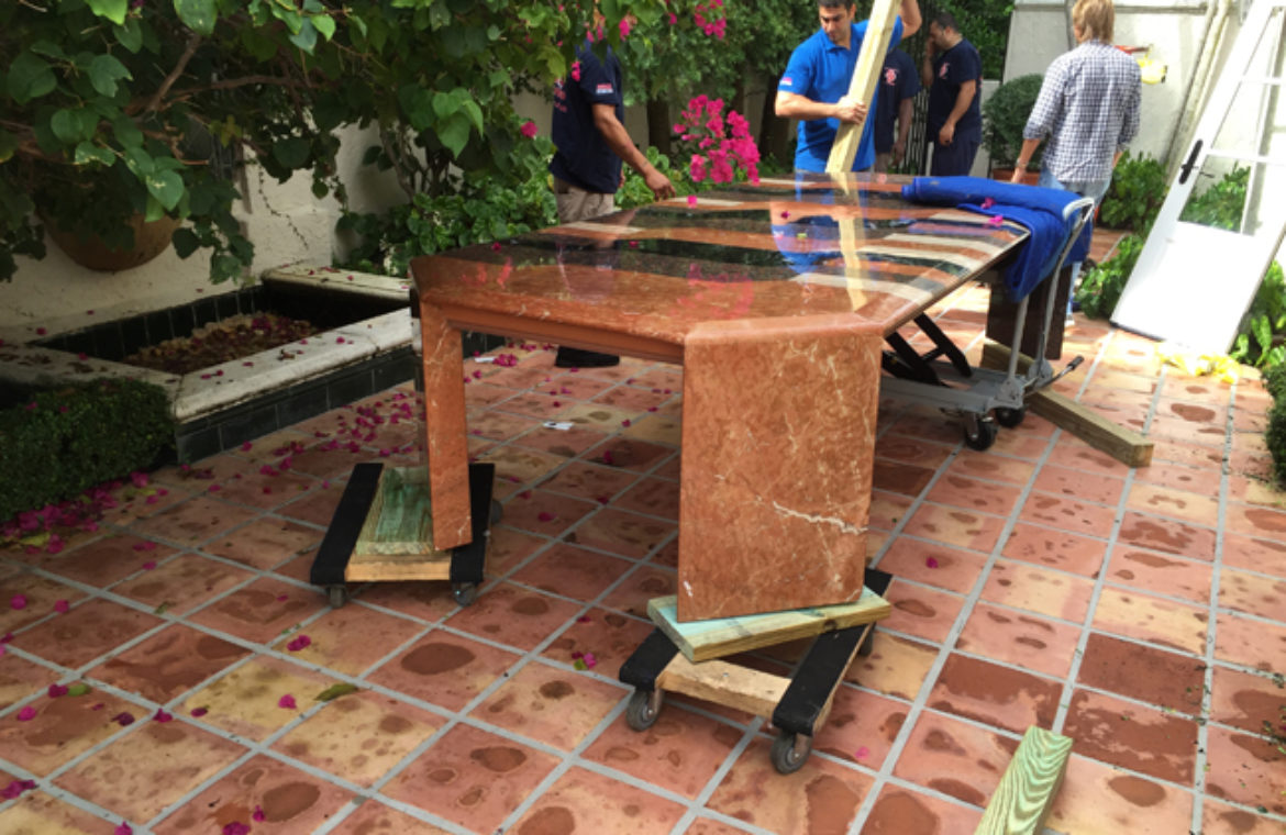 16′ Steel/Marble Table (1200 LBS)
