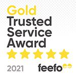 Feefo Sq Gold Service 2021 White150